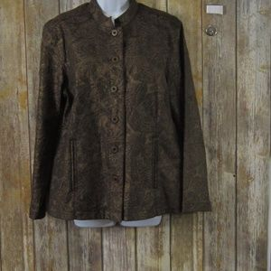 Chico's Jacket Womens Chicos Size 2 Brown/Gold